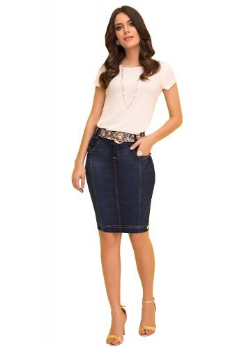 saia tradicional jeans com cinto floral laura rosa viaevangelica frente
