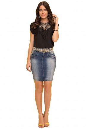 saia tradicional jeans curta com cinto oncinha laura rosa viaevangelica frente
