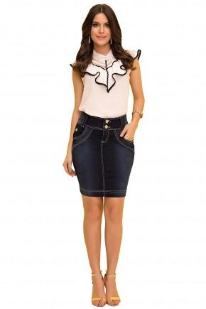 saia tradicional jeans escura curta laura rosa viaevangelica frente