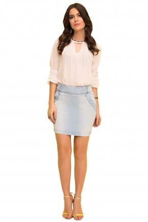 saia reta jeans clara curta laura rosa viaevangelica frente