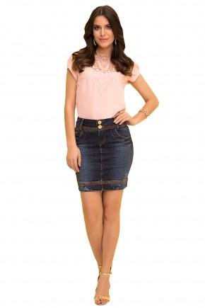 saia tradicional jeans escuro curta detalhes marrom laura rosa viaevangelica frente