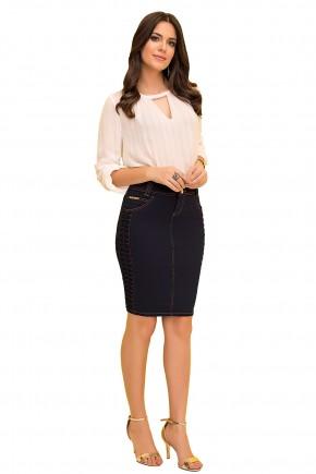saia tradicional jeans ecuro detalhe relevo lateral laura rosa viaevangelica frente