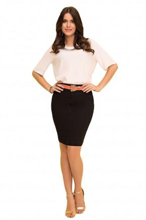 saia tradicional jeans preta com cinto laranja laura rosa viaevangelica frente