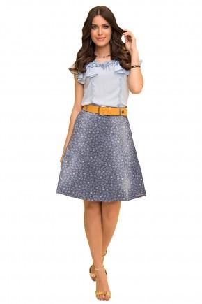 saia gode jeans estampa floral com cinto laranja laura rosa viaevangelica frente
