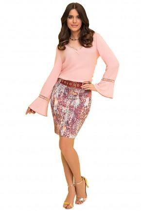 saia tradicional curta mix de estampas com cinto laura rosa viaevangelica frente