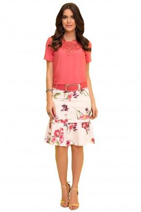 saia sino off white estampa floral com cinto laura rosa viaevangelica frente