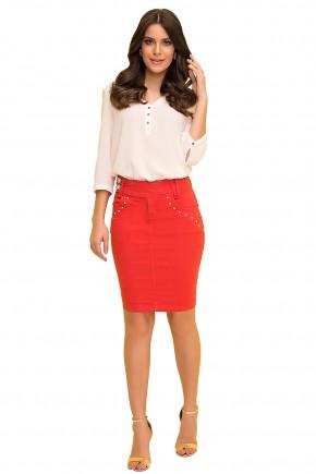saia tradicional vermelha com aplicacao de tachinhas laura rosa viaevangelica frente