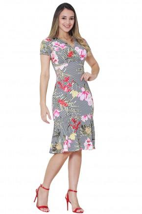 vestido sino estampa floral listras e folhagem decote cruzado manga curta tata martello viaevangelica frente