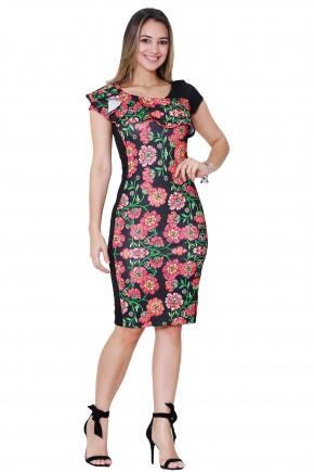 vestido justo estampa floral manga curta decote babados tata martello viaevangelica frente