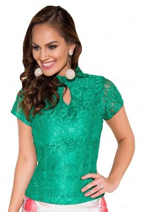 blusa verde rendada manga curta gola alta decote gota titanium viaevangelica frente fileminimizer