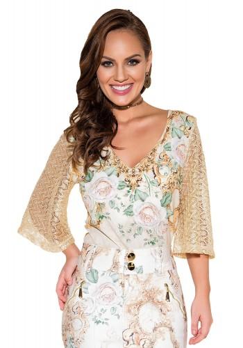 blusa manga longa renda estampa floral e arabesco titanium viaevangelica frente fileminimizer