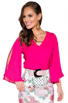 blusa rosa pink manga longa aberta decote v fivela titanium viaevangelica frente fileminimizer