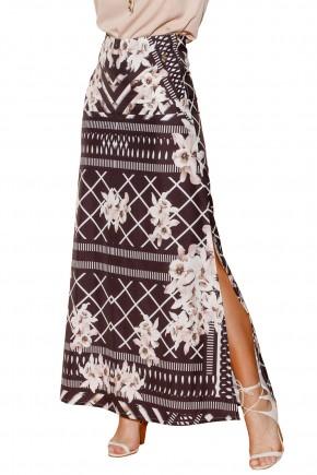 saia preta longa estampa floral e geometrica fenda lateral via tolentino viaevangelica frente detalhe