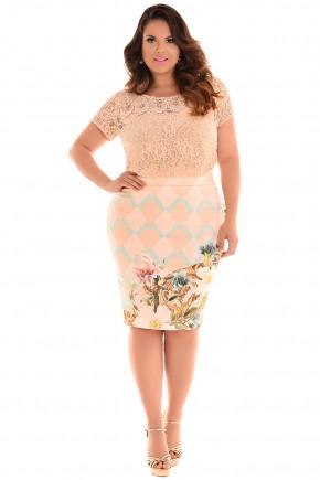conjunto plus size blusa rendada e bordada saia justa estampa floral e geometrica fascinius viaevangelica frente