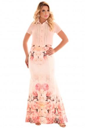 conjunto longo camisa rose bordada guipir saia estampa floral sereia fascinius viaevangelica frente