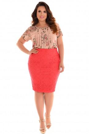 conjunto plus size blusa estampa floral bordada saia rosa rendada fascinius viaevangelica frente
