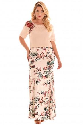 conjunto longo blusa bege com aplicacoes florais saia estampa floral fascinius viaevangelica frente