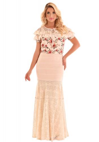 conjunto longo blusa estampa floral babados saia sereia rendada fascinius viaevangelica frente