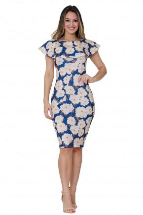 vestido justo azul escuro estampa floral decote babados tata martello viaevangelica frente