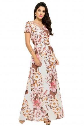 vestido longo estampa floral decote gota bordado manga curta zunna ribeiro viaevangelica frente