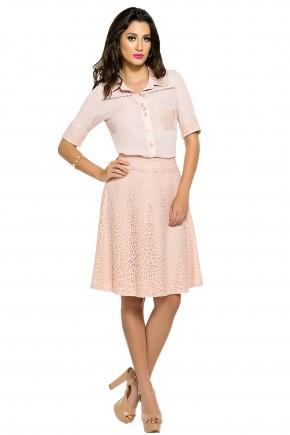 conjunto rose camisa entremeios bolso frontal e manga rendada saia renda zunna ribeiro viaevangelica frente