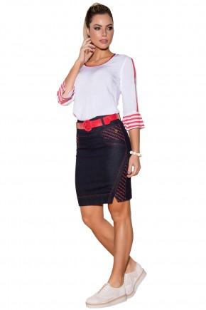 saia jeans escura envelope detalhe vermelhos com cinto via tolentino viaevangelica frente