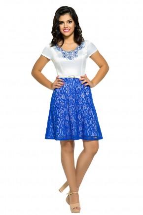 vestido evase moda teen rendado bordado azul escuro e branco zunna ribeiro viaevangelica frente