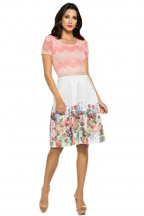 vestido evase rendado rosa e branco estampa floral bordado na cintura zunna ribeiro viaevangelica frente