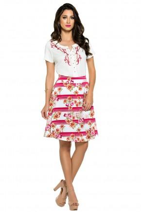 conjunto blusa bordada arabescos bordada saia gode estampa floral e listras zunna ribeiro viaevangelica frente