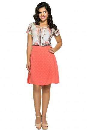 conjunto moda teen blusa estampada bordada decote gota saia evase salmao zunna ribeiro viaevangelica frente