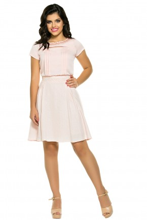 conjunto moda teen rose blusa decote vazado plissada bordada saia de linho zunna ribeiro viaevangelica frente