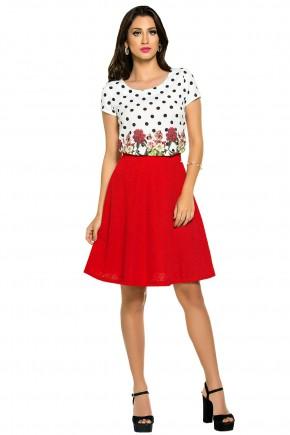 conjunto blusa estampa floral e poa saia vermelha rendada zunna ribeiro viaevangelica frente