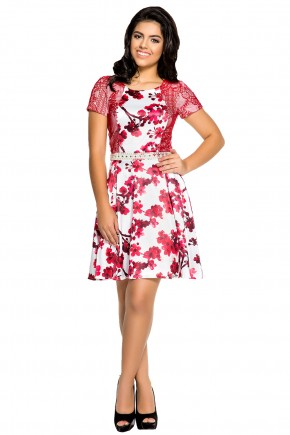 vestido moda teen branco estampa floral vermelha rendado zunna ribeiro viaevangelica frente
