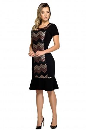 vestido sino preto bordado paetes manga curta zunna ribeiro viaevangelica frente