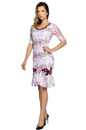 vestido sino branco estampa floral rosa manga renda decote bordado zunna ribeiro viaevangelica frente