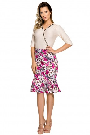 conjunto blusa decote trancado bordada saia sino estampa floral zunna ribeiro viaevangelica frente