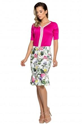 conjunto blusa pink guipir saia sino estampa floral e folhagem zunna ribeiro viaevangelica frente
