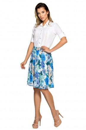 conjunto camisa branca botoes saia plissada azul estampa floral zunna ribeiro viaevangelica frente