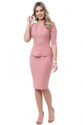conjunto rose blusa peplum detalhe guipir saia justa bela heranca viaevangelica frente