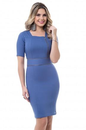 vestido tubinho azul detalhes ziper bella heranca viaevangelica frente