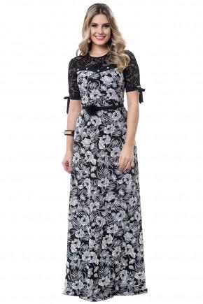 vestido longo preto e branco estampa floral manga renda bella heranca viaevangelica frente