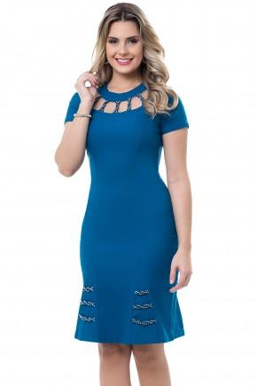 vestido azul escuro decote vazado manga curta bella heranca viaevangelica frente