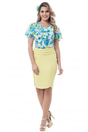 conjunto blusa estampa folhagem e floral babados saia justa amarela detalhe trancado bella heranca viaevangelica frente