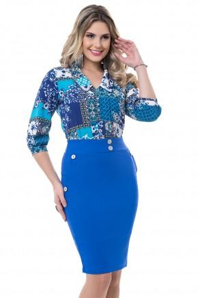 conjunto camisa estampa etnica azul e verde saia justa azul bella heranca viaevangelica frente