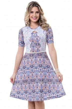 vestido evase estampa etnica roxo bordado perolas e guipir bella heranca viaevangelica frente