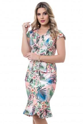 conjunto rosa estampa floral e folhagem coloridas blusa ziper saia sino bella heranca viaevangelica frente