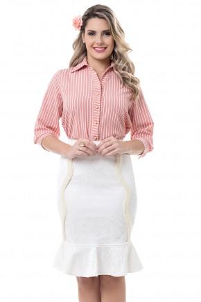 conjunto camisa listras branca e vermelha saia sino off white bella heranca viaevangelica frente