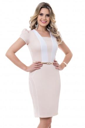 vestido justo rose e branco manga curta com cinto bella heranca viaevangelica frente