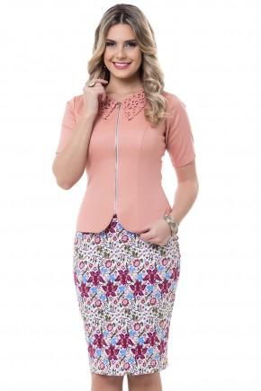 conjunto blusa salmao ziper frontal gola peter pan saia justa estampa floral bella heranca viaevangelica frente