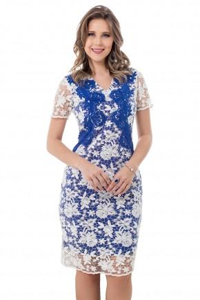 vestido tubinho em renda branca e azul forro azul escuro bella heranca viaevangelica frente